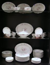 Seventy-five Piece Warwick Pink Rose Transfer Decorated Porcelain Partial Dinner Service.