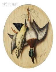 Michelangelo Meucci (Italian, 1840-1890)      Pair of Trompe L'Oeil Still Lifes with Game Birds