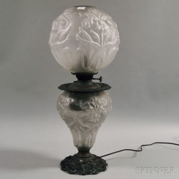 Victorian Frosted Glass Kerosene Lamp