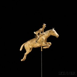 Gilt Molded Copper Leaping Horse and Rider Weathervane