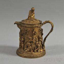 Strauss Crosby & Co. Repousse Gilt-metal Flagon