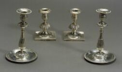 Pair of Russian Neoclassical .840 Silver Candlesticks