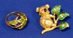 18kt Gold and Enamel Koala Pin and an 18kt Gold and Enamel Ring.