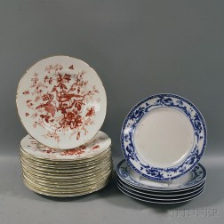 "Fourteen ""Cairo"" Pattern Coalport Dinner Plates and Six Blue and White Nippon Dinner   Plates"