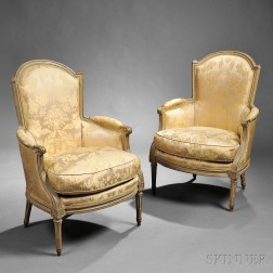 Pair of Louis XVI Painted and Upholstered Bergeres
