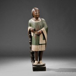 Carved and Painted Indian Tobacconist Figure