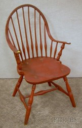Red-painted Windsor Continuous Armchair