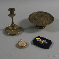 Two Brass Items, a Micromosaic Paperweight, and a Glass Pocket Watch