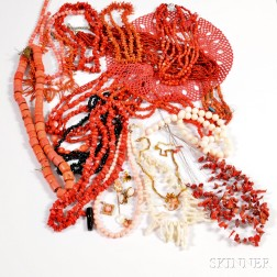 Group of Coral and Hardstone Jewelry