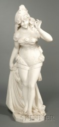 Large Italian Marble Figure of Burlesque Dancer with a Mask