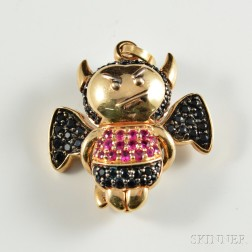 18kt Gold Gem-set Devil Charm