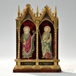 Victorian Giltwood Tabernacle with Two Saints