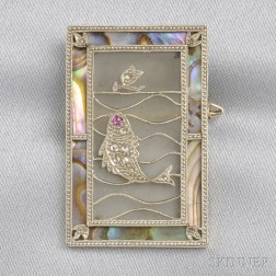 Art Deco Mother-of-Pearl and Diamond Brooch