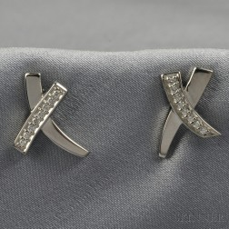 "18kt White Gold and Diamond ""X"" Earstuds, Paloma Picasso, Tiffany & Co."