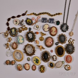 Group of Costume Cameo Jewelry