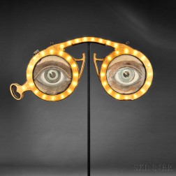 Gilded Steel and Glass Optometrist Sign