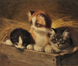 Sidney Lawrence Brackett (American, 1852-1910)      Three Little Kittens