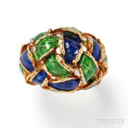 18kt Gold and Enamel Dome Ring, Tiffany & Co.