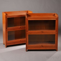 Pair of Stickley Two-door Barrister Bookcases
