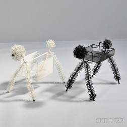 Standing Poodle Beverage Tray and a Magazine Rack