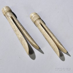 Two Carved and Incised Whalebone Clothespins