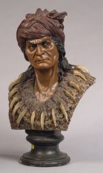 Polychrome Painted Terra-cotta Bust of Geronimo