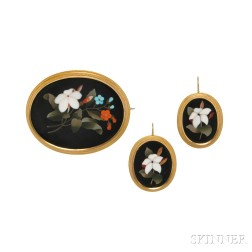 Gold and Pietra Dura Demi-parure