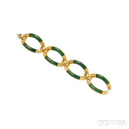 18kt Gold and Nephrite Bracelet