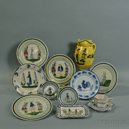 Fourteen Pieces of Quimper Pottery