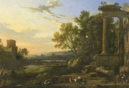 Manner of Pierre Patel (French, c. 1605-1676)    Figures and Livestock in a Pastoral Landscape with Ruins