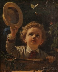 Continental School, 19th Century      Capturing the Butterfly