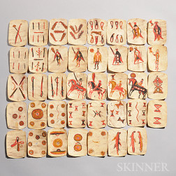 Thirty-nine Apache Painted Rawhide Playing Cards