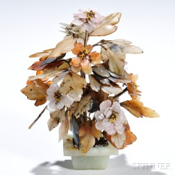 Hardstone Sculpture of a Blooming Plant
