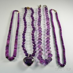 Four Amethyst Bead Necklaces