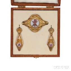 Gold, Ruby, and Chalcedony Demi-parure