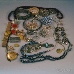 Small Group of Sterling Silver, Victorian, and Costume Jewelry