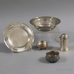 Five Small Pieces of Sterling Silver Tableware