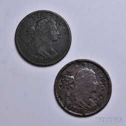 Two 1797 Draped Bust with Stems Large Cents