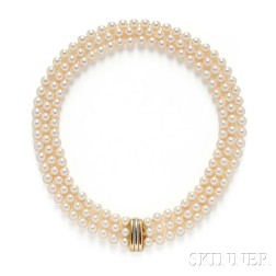 """18kt Gold and Cultured Pearl """"Trinity"""" Necklace, Cartier"""