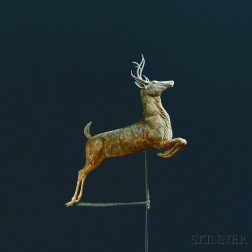 Gilded Molded Copper and Cast Zinc Leaping Stag Weathervane