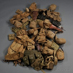Large Group of WWI and WWII Web Belts and Equipment
