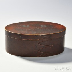 Shaker Maple and Pine Red-painted Oval Box