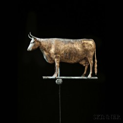 Gilded Molded Copper Cow Weathervane