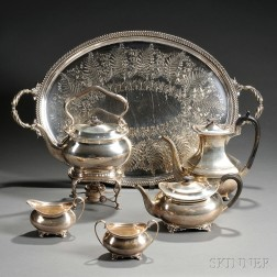 Four-piece Edward VII Sterling Silver Tea Set with an Associated Sterling Silver   Coffeepot and Silver-plated Tray