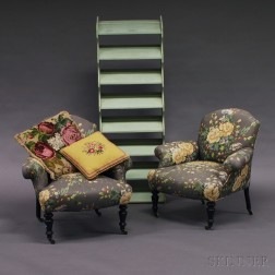 Pair of Louis Philippe Boudoir Chairs, Two Needlepoint Pillows,   and Painted Shoe Rack