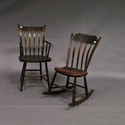 Two Stencil-decorated Thumb-back Windsor Chairs