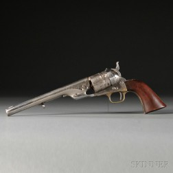 Nickel-plated Model 1860 Colt Army Richards Conversion Revolver