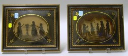 Two Framed Reverse-painted Silhouettes on Convex Glass with Eglomise Mat