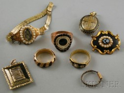 Small Group of Antique Mourning and Memorial Jewelry