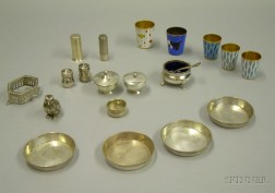 Group of Assorted Sterling Silver, Silver, and Metal Tableware Articles
